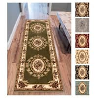 "Well Woven Agra Traditional French Country Aubusson Floral Rug - 2'8"" x 12'"