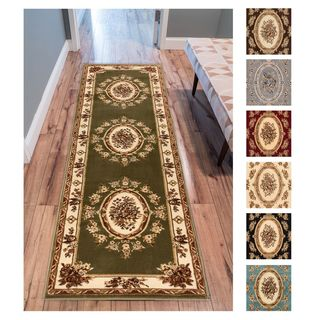 """Well Woven Agra Traditional French Country Aubusson Floral Rug - 2'8"""" x 12'"""