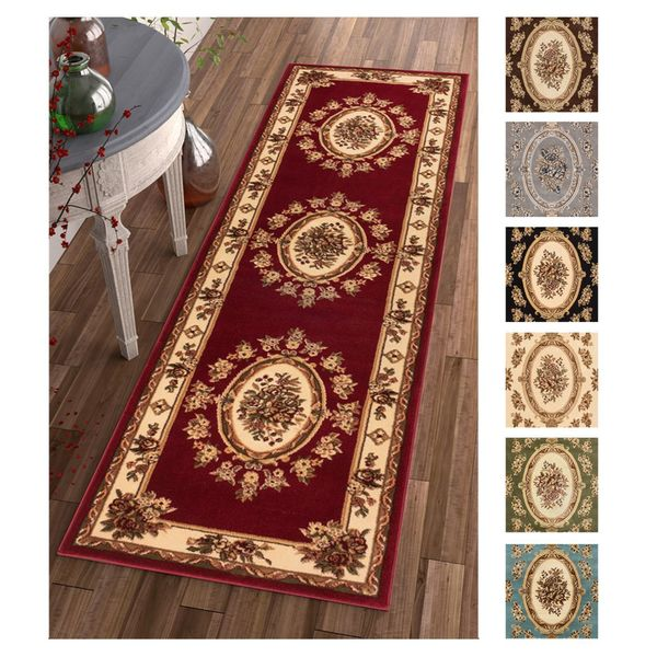"""Well Woven Agra Traditional French Country Aubusson Floral Rug - 2'3"""" x 7'3"""""""