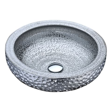 ANZZI Regalia Series Vessel Sink in Speckled Silver