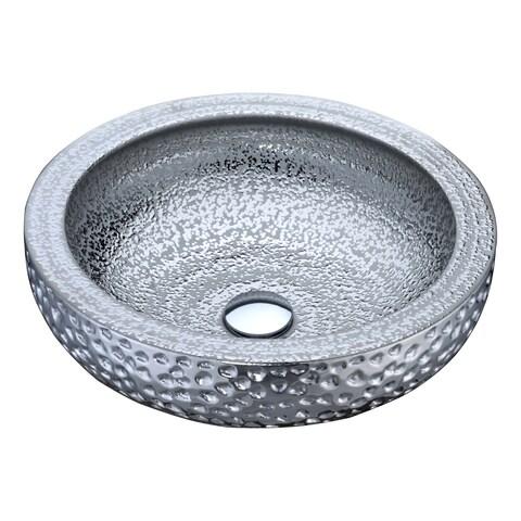 ANZZI Regalia Series Vessel Sink in Speckled Silver