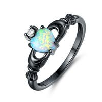 Black Rhodium Plated Cubic Zirconia & Fire Opal Heart Crown Ring