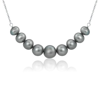 Pearlyta Sterling Silver Grey Graduated Round Pearl Necklace (5-8mm)