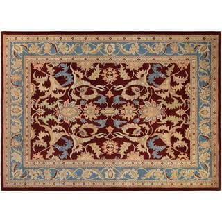Arshs Fine Rugs Kafkaz Peshawar Antoinet Red/Blue Wool Hand-knotted Area Rug - 10' x 14'