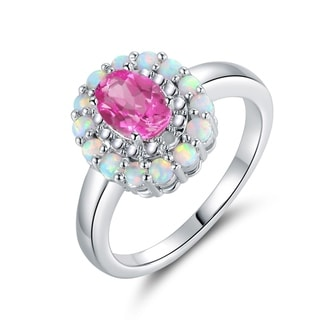 Lab-Created Pink Sapphire Quartz, Diamond, and Fire Opal Ring in Gold