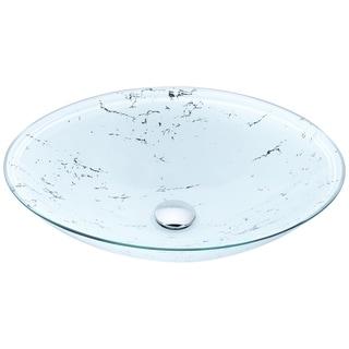 ANZZI Marbela Series Vessel Sink in Marbled White