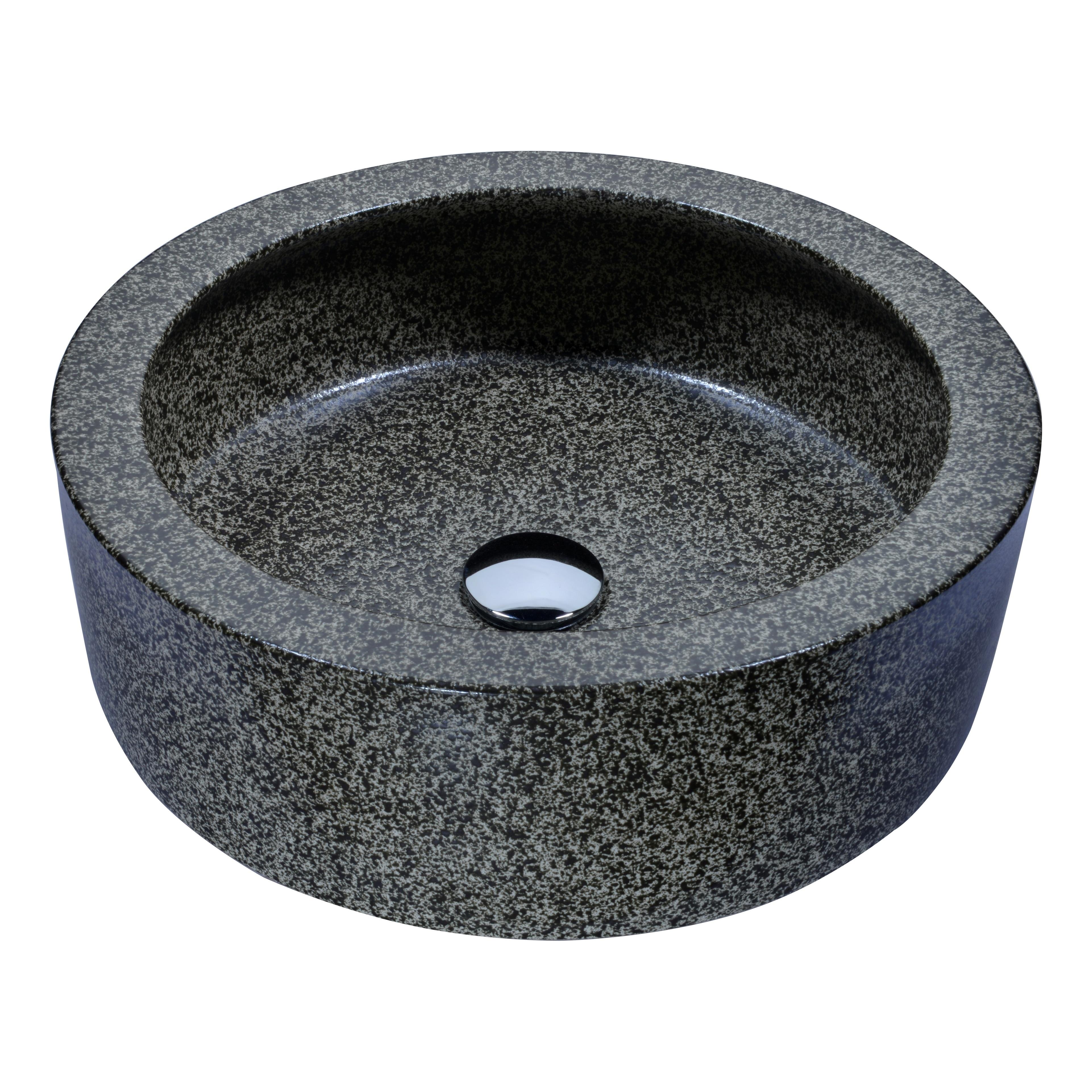 Anzzi Black Desert Crown Vessel Sink in Speckled Stone (S...