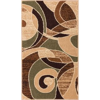 Ellie Modern Abstract Geometric Green Area Rug (2'3 x 3'11)