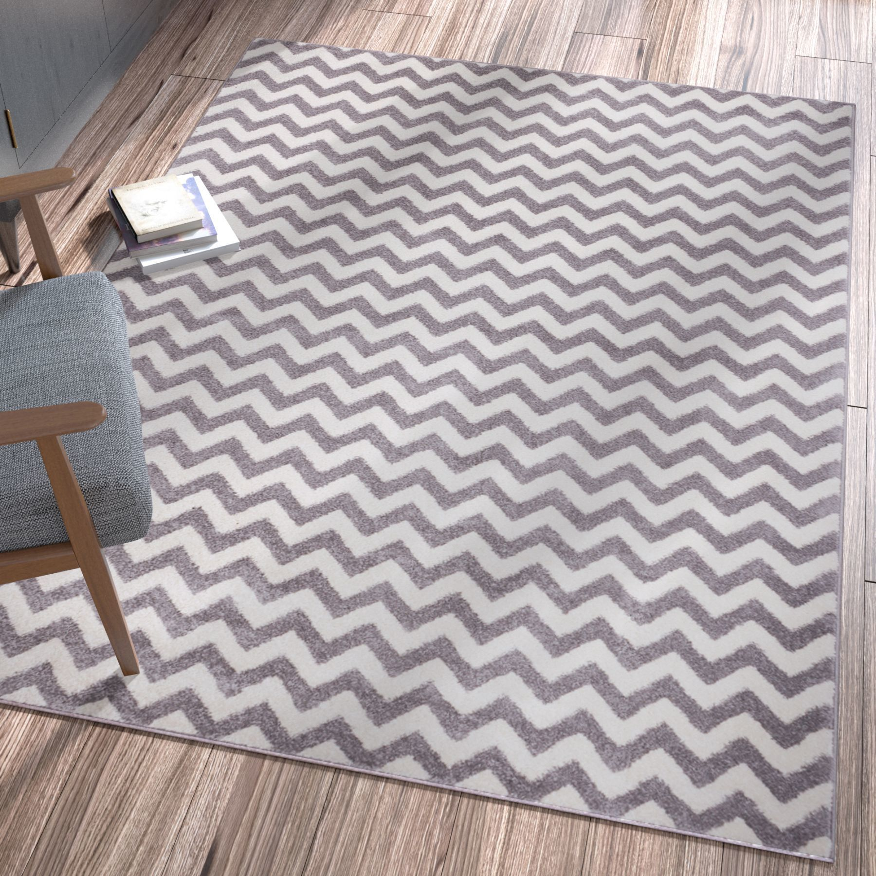 Well Woven Ellie Modern Chevron Zig Zag Grey Area Rug - 33 x 47 (Light Grey)