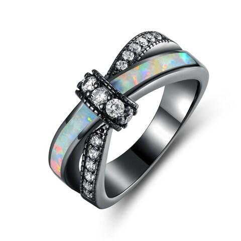 Black Rhodium Plated White Fire Opal & CZ Crisscross Engagement Ring - Multi
