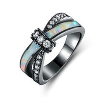 Black Rhodium Plated White Fire Opal & CZ Crisscross Engagement Ring - Multi