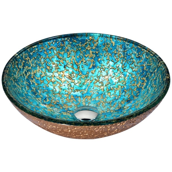 ANZZI Chrona Series Vessel Sink in Gold/Cyan Mix