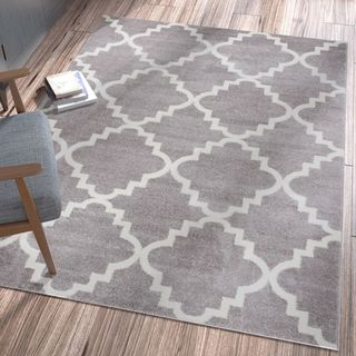 "Ellie Modern Bold Trellis Diamond Pattern Grey Area Rug - 3'3"" x 4'7"""