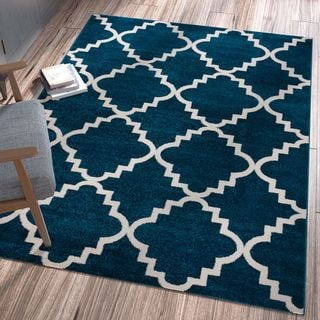 "Well Woven Ellie Modern Bold Trellis Diamond Pattern Navy Area Rug - 3'3"" x 4'7"""