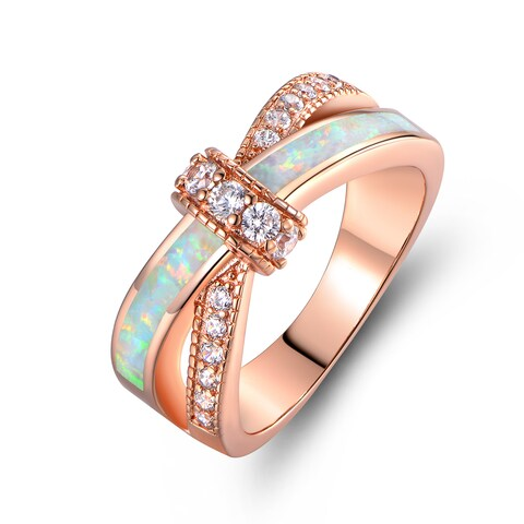Rose Gold Plated Fire Opal Cubic Zirconia Ring