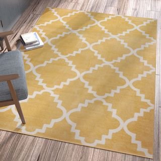 "Ellie Modern Bold Trellis Diamond Pattern Gold Area Rug - 3'3"" x 4'7"""