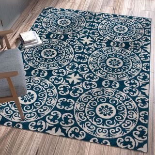 Ellie Modern Circles and Swirls Navy Area Rug (3'3 x 4'7)