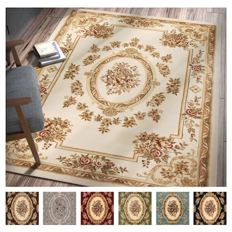 """Well Woven Agra Traditional French Country Aubusson Floral Area Rug - 9'3"""" x 12'6"""""""