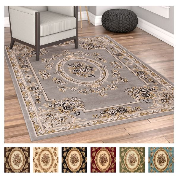 Well Woven Agra Traditional French Country Aubusson Floral Area Rug  (3u0026#x27;11