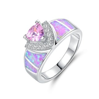 Gold Plated Pink Fire Opal & Pink CZ Trillion-Cut Ring