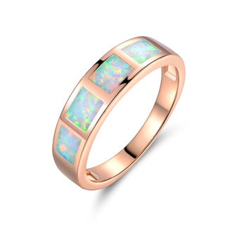 Gold Plated Fire Opal Eternity Band