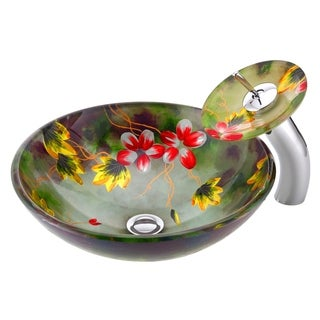 ANZZI Impasto Series Hand-painted Mural Vessel Sink with Matching Chrome Waterfall Faucet