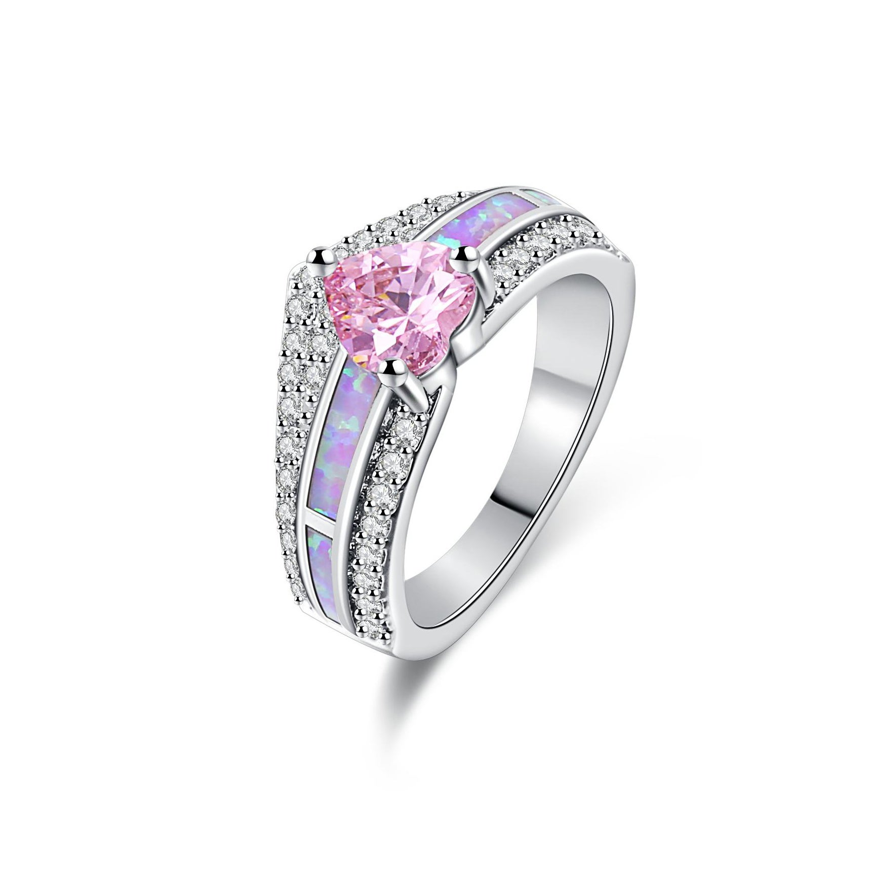Peermont Jewelry Gold and Pink Opal Cubic Zirconia Heart ...