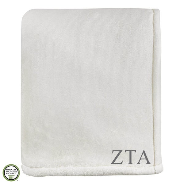 Vellux Sheared Mink Ivory Zeta Tau Alpha Monogram Blanket