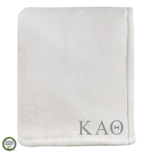 Vellux Sheared Mink Ivory Kappa Alpha Theta Monogram Blanket