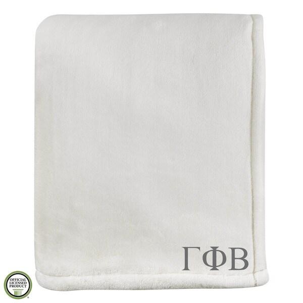 Vellux Sheared Mink Ivory Gamma Phi Beta Monogram Blanket