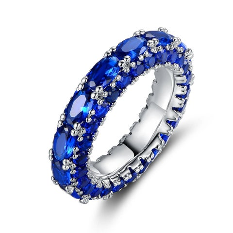 Gold Plated Oval-Cut Blue Spinel Three-Row Ring