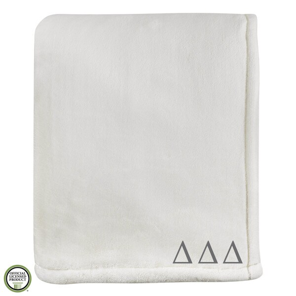 Vellux Sheared Mink Ivory Delta Delta Delta Monogram Blanket