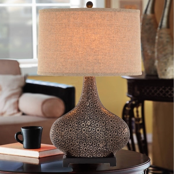 """Catalina Turner 28"""" 3-Way Embossed Ceramic Table Lamp with Bronze and Gold Finish"""