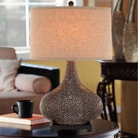 "Catalina Turner 28"" 3-Way Embossed Ceramic Table Lamp with Bronze and Gold Finish"