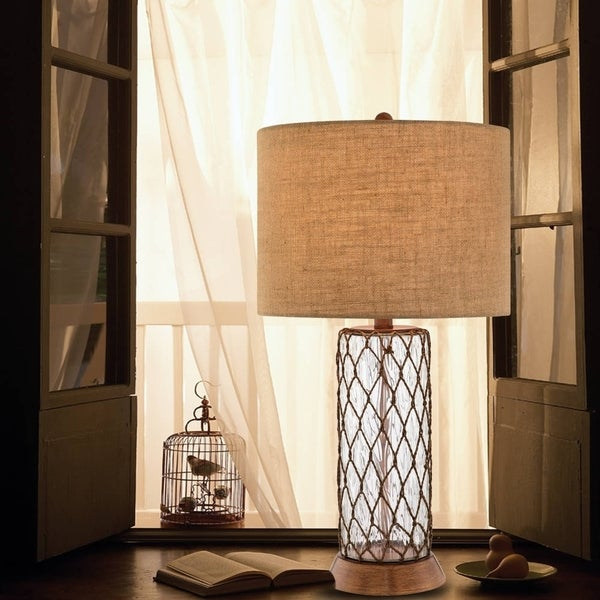 """Catalina Lacy 32"""" 3-Way Clear Water Glass Table Lamp with Rope Accents and Bronze Finish"""