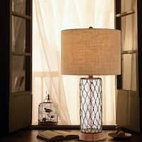 "Catalina Lacy 32"" 3-Way Clear Water Glass Table Lamp with Rope Accents and Bronze Finish"