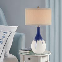 "Catalina Layla 30"" 3-Way Cobalt Blue Ceramic Table Lamp with an Ombre Glaze"