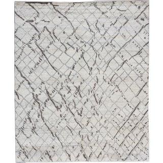 ecarpetgallery Hand-Knotted Royal Maroc Blue, Grey Wool Rug (9'10 x 11'9)