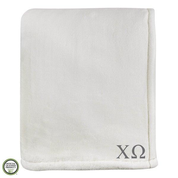 Vellux Sheared Mink Ivory Chi Omega Monogram Blanket
