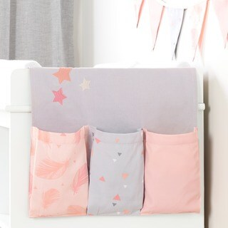 South Shore Dream It Pink and Grey Doudou the Rabbit Changing Table Runner and Pennant Banner