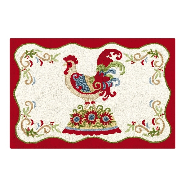 Shop French Country Rooster Red And Cream Wool Hooked Rug