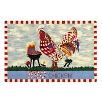 BBQ Rooster Blue Wool Hooked Rug - 2' x 3'