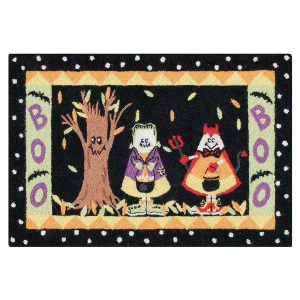 Hooked Candy Corn Kids Black Wool Rug (2' x 3')