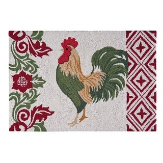 French Country Rooster Red Wool Hooked Rug - 2' x 3'
