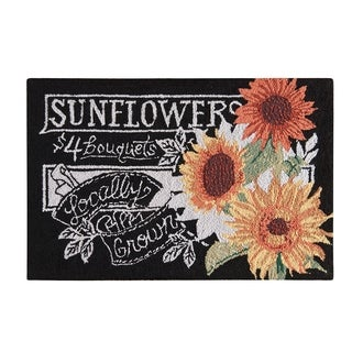 Hooked Sunflowers Black Wool Rug (2' x 3')