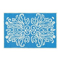 Veranda Blue and White Wool Hooked Rug - 2' x 3'