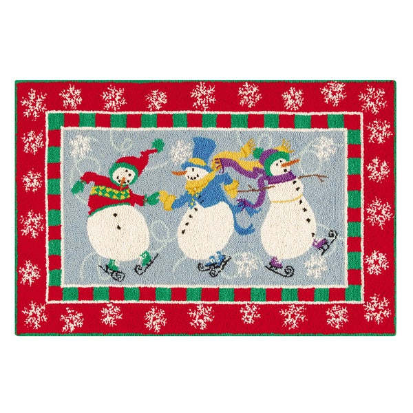 Hooked Skiing Snowman Red Wool Rug (2' x 3')