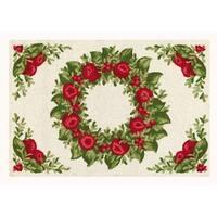 Williamsburg Holiday Wreath on Cream Wool Hooked Rug (2'x3') - 2' x 3'