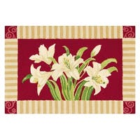 Lily Red Wool Hooked Rug - 2' x 3'