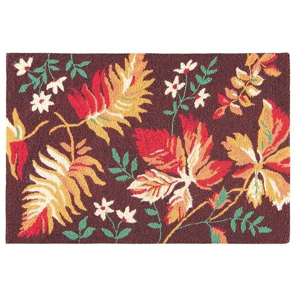 Adirondacks Fall Leaves Wool Hooked Rug (2'x3') - 2' x 3'